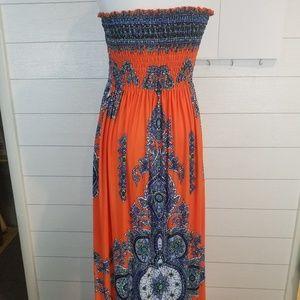 Orange Boho Maxi Dress